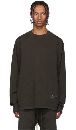 Essentials - Khaki Logo Long Sleeve T-Shirt