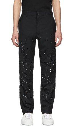 Comme des Garçons Homme - Black Wool Paint Splatter Trousers