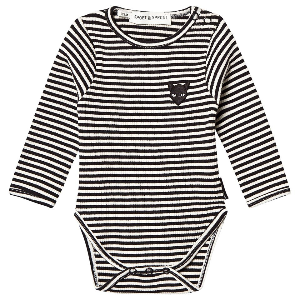 Sproet and Sprout Black and White Striped Baby Body