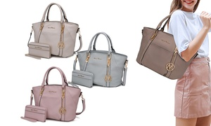 MKF Collection Azrael Satchel Handbag with Matching Wallet