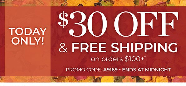 TODAY ONLY! TAKE $30 OFF YOUR ORDER, PLUS GET FREE SHIPPING ON $100 ORDERS. USE PROMO CODE: A9169. CLICK FOR DETAILS.