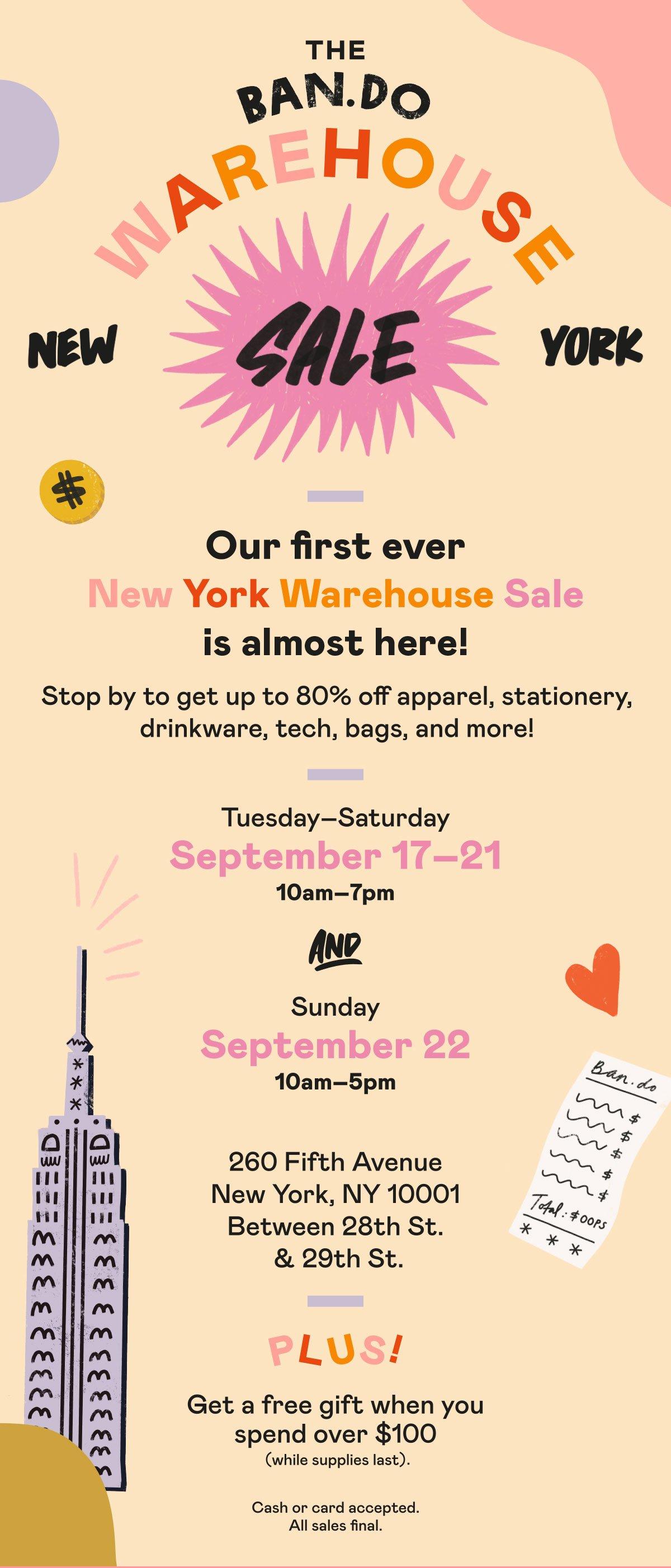 The ban.do New Work warehouse sale