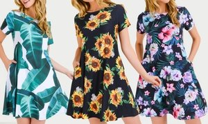 Style Clad Women's Printed Dress with Pockets. Plus Sizes Available.