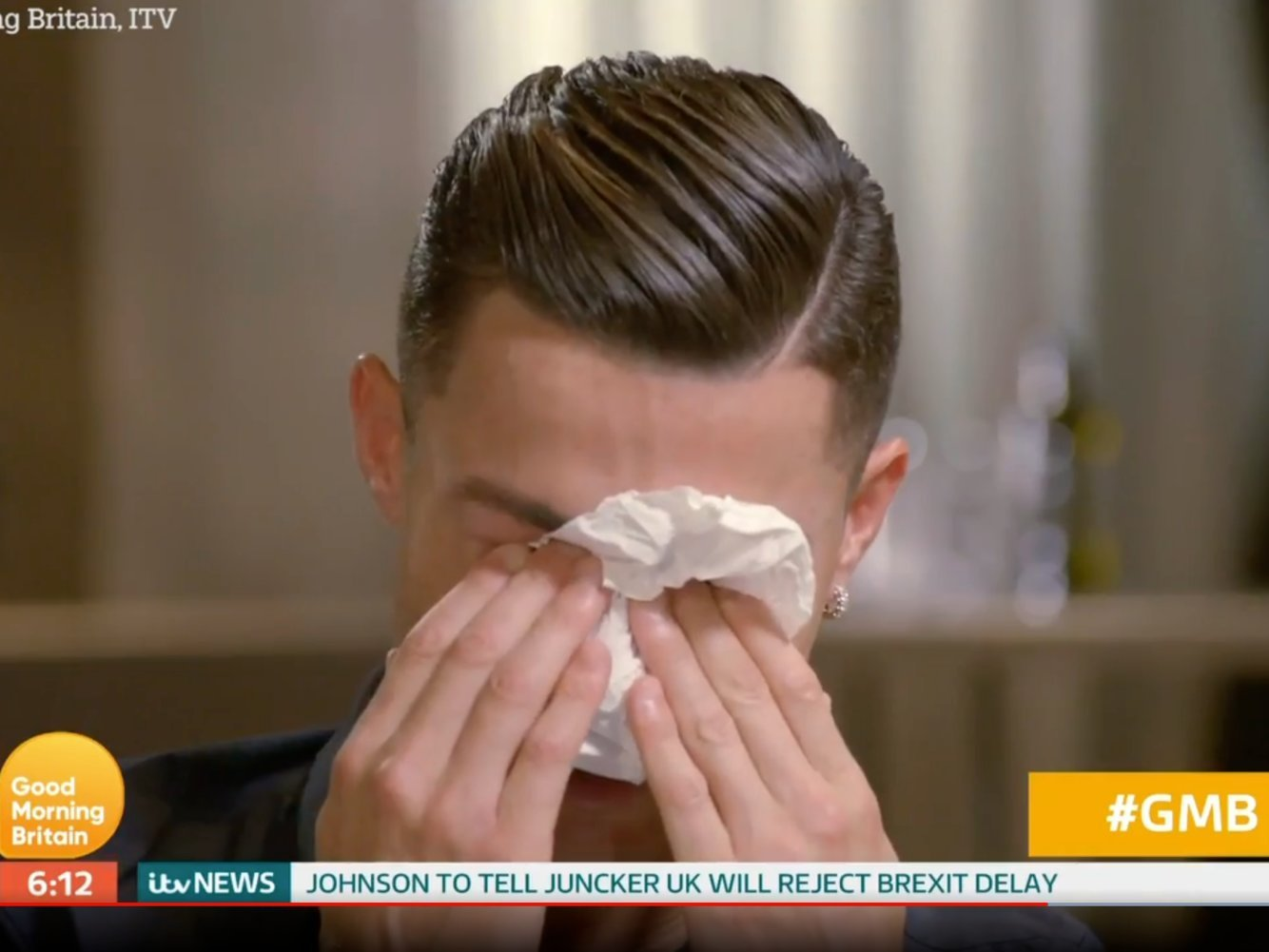 Cristiano Ronaldo breaks down in tears in an interview with Piers Morgan after being shown a never-before-seen video of his late father