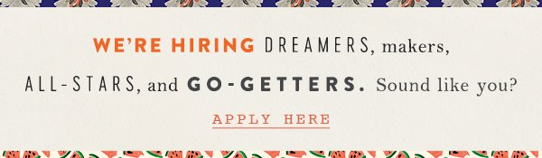 We're hiring. Click here to apply.