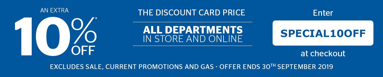 10% off the Discount Card Price - All departments
