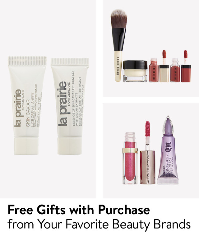 Free gifts with purchase from favorite beauty brands.