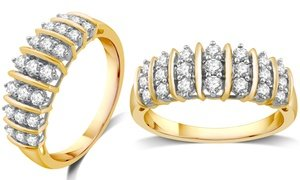 1/2 CTTW Diamond Ring in Gold Plating over Sterling Silver by DeCarat