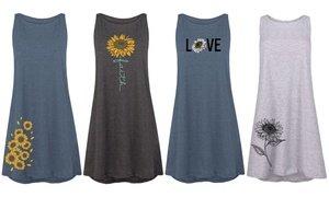 Women's Sunflower Tank Dresses. Plus Sizes Available.