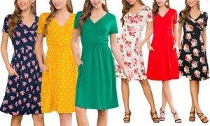 Riah Fashion Women's Short-Sleeve Printed Pocket Dress