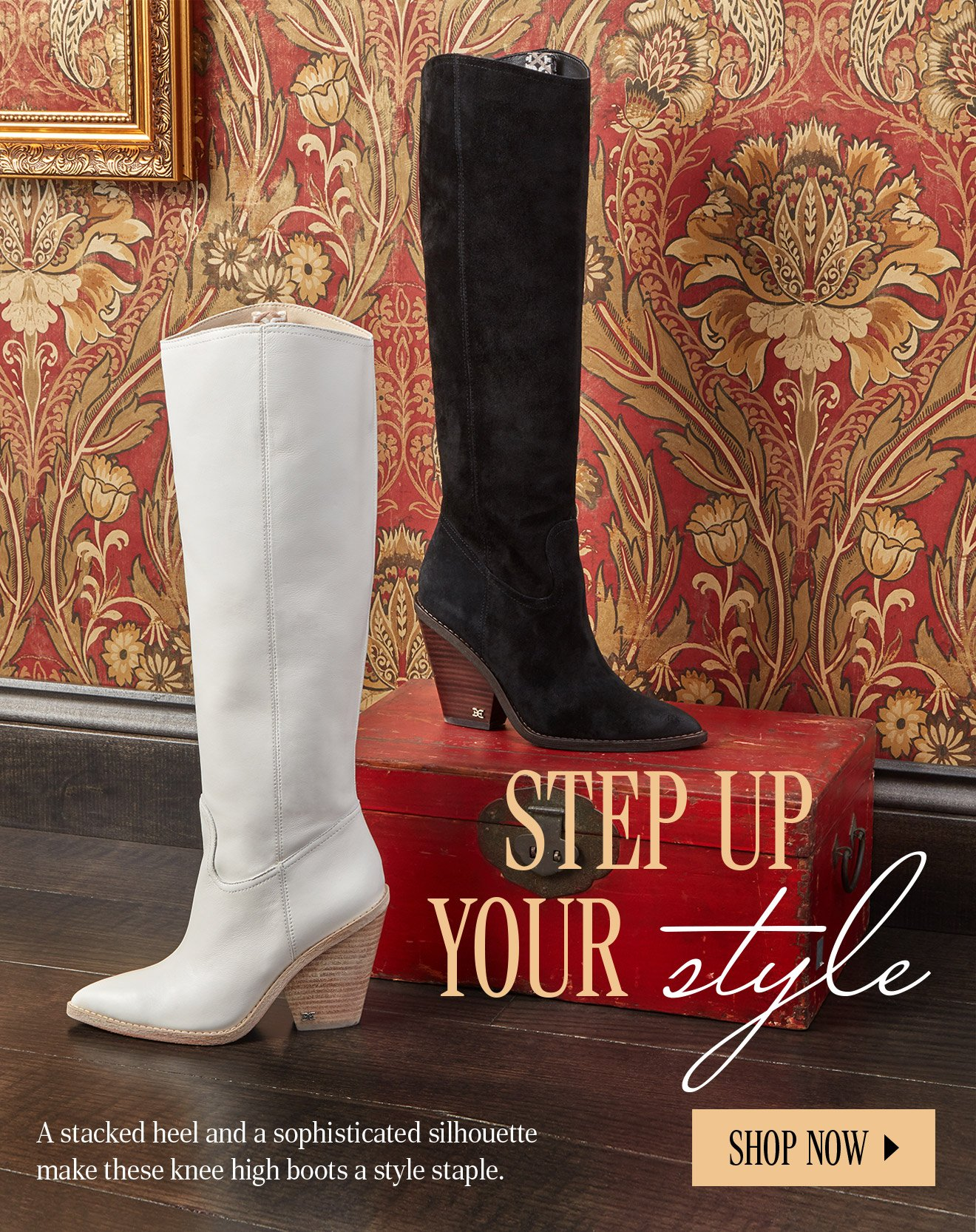 STEP UP YOU STYLE. A stacked heel and a sophisticated silhouette make these knee high boots a style staple.  SHOP NOW.