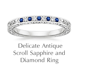 Delicate Antique Scroll Sapphire and Diamond Ring