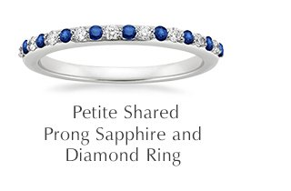 Petite Shared Prong Sapphire and Diamond Ring