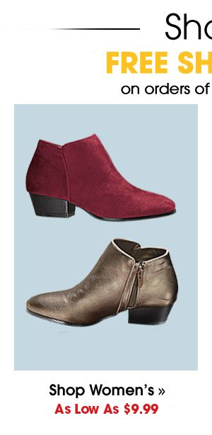 Shop Womens's Shoes As Low As $9.99