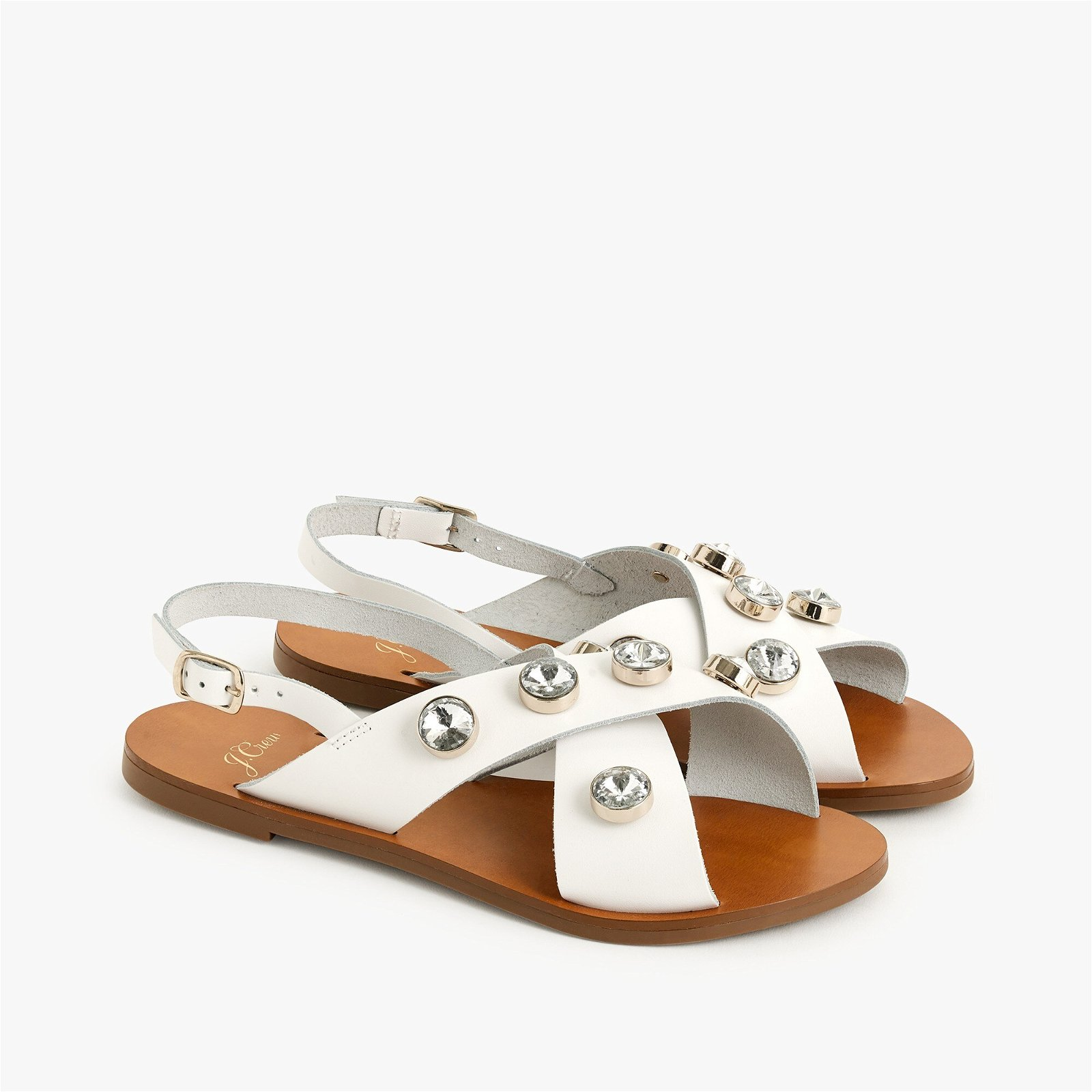 Cross-strap slingback sandals with jewels