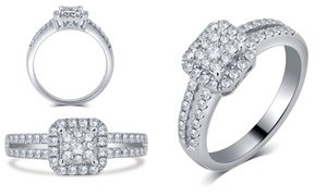 1/2 CTTW Diamond Ring in 10K Solid White Gold by Brilliant Diamond