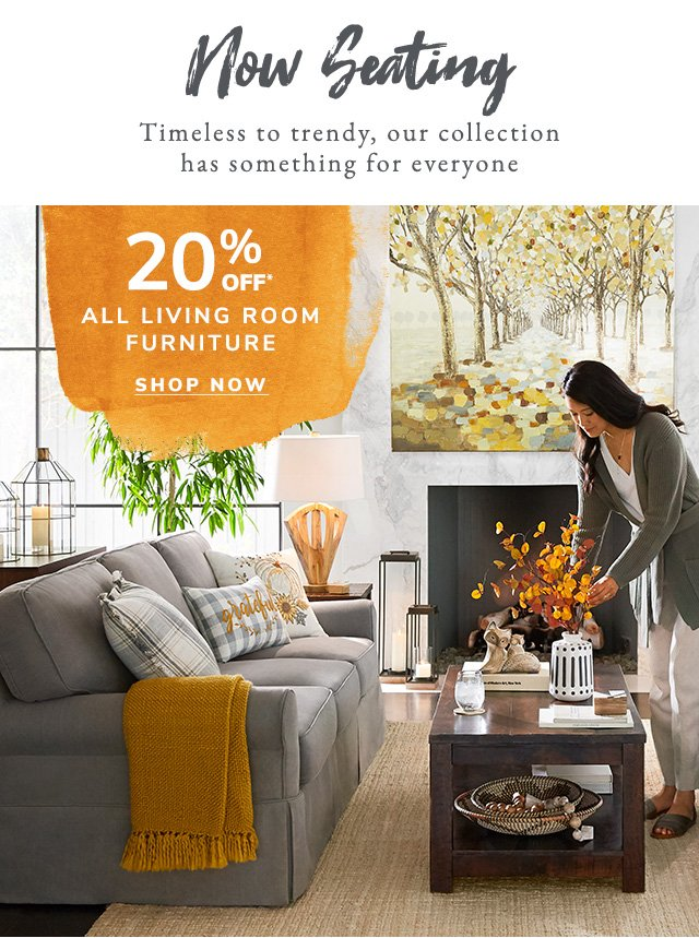Save twenty percent on all living room furniture