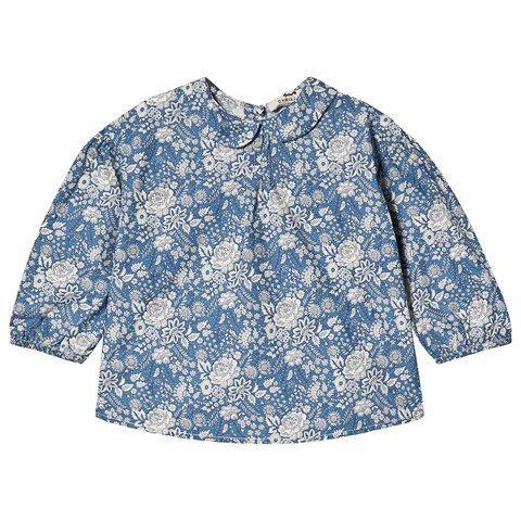 Cyrillus Blue & White Domitille Floral Print Peter Pan Collar Shirt