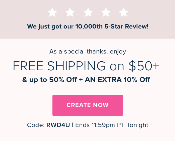 Mixbook | Celebrate our 10,000th 5-Star Review with FREE Shipping on $50+ and up to 50% Off + 10% Off Everything with code RWD48. Offers end 11:59pm PT Tonight.