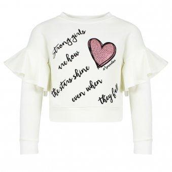 Monnalisa Plush Sweatshirt Ivory