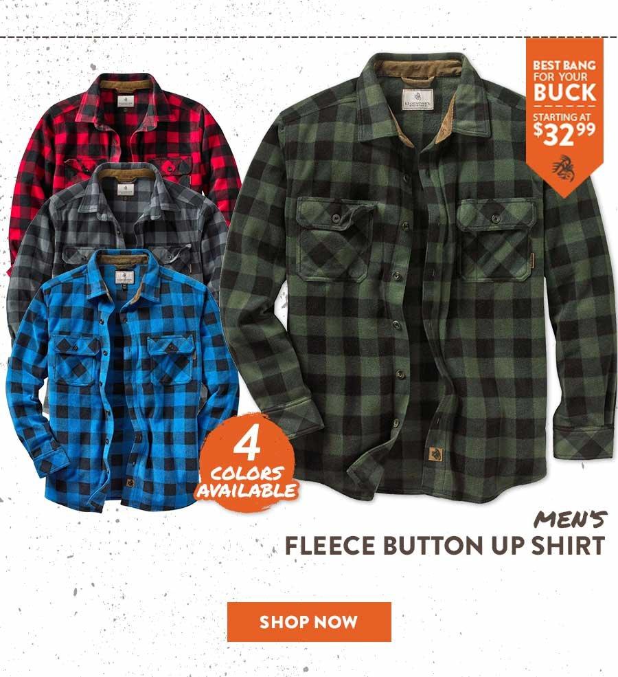 Men's Fleece Button Up Shirt - Shop Now