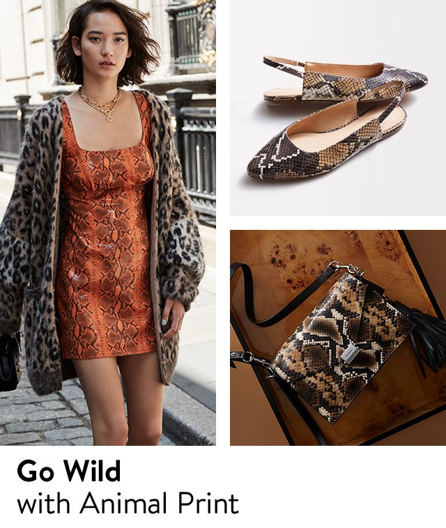 Animal print clothing, shoes and handbags.