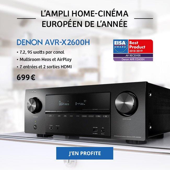 Denon AVR-X2600H, l'ampli home-cinéma européen de l'année: 7.2, 95watts par canal, multiroom Heos et AirPlay, 7entrées et 2sorties HDMI. 699€. J'en profite.