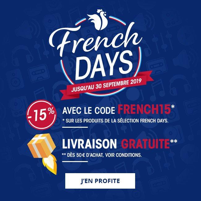 FrenchDays jusqu'au 30septembre2019: -15% sur les produits de la sélection FrenchDays avec le code FRENCH15. Livraison gratuite dès 50€ d'achat, voir conditions. J'en profite.
