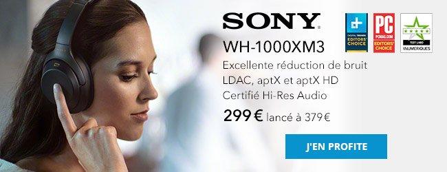 Sony WH-1000XM3: excellente réduction de bruit, LDAC, aptX et aptX HD, certifié Hi-Res Audio. 299€, lancé à 379€. J'en profite.