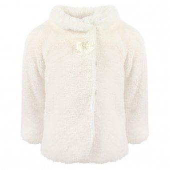 Mayoral Fur Coat Natural Cream