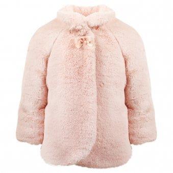 Mayoral Fur Coat Pale Pink