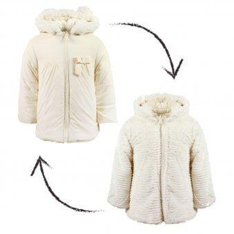 Mayoral Reversible Fur Jacket Ivory