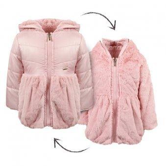 Mayoral Reversible Fur Jacket Rose Pink
