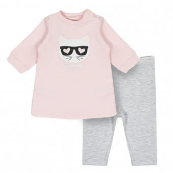 Karl Lagerfeld Kids 2 Piece Set Pink & Grey