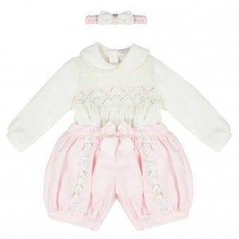 Pretty Originals Dress Set Pink & Cream