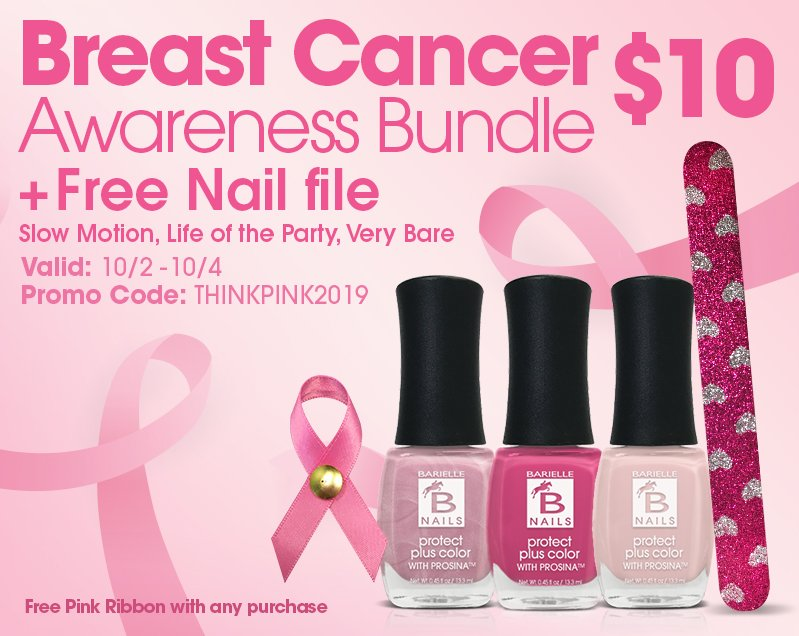 Fisk Industries Inc Shop Barielle S Breast Cancer Awareness Bundle 10 Free Pink Ribbon With Purchase Milled