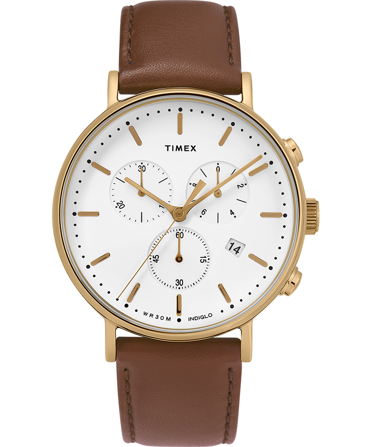 Timex Watch Men's Fairfield Chronograph 41MM Leather Strap Gold-Tone/brown/white | Item # Tw2T32300Vq