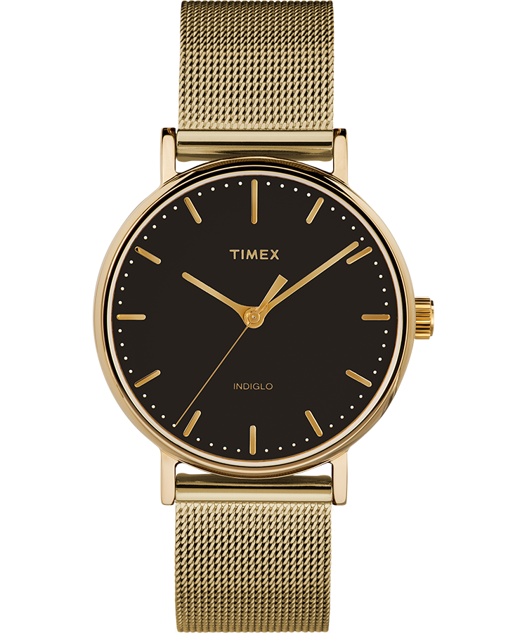 Timex Watch Unisex Fairfield 37MM Stainless Steel Mesh Band Gold-Tone/gold-Tone/black | Item # Tw2T36900Vq