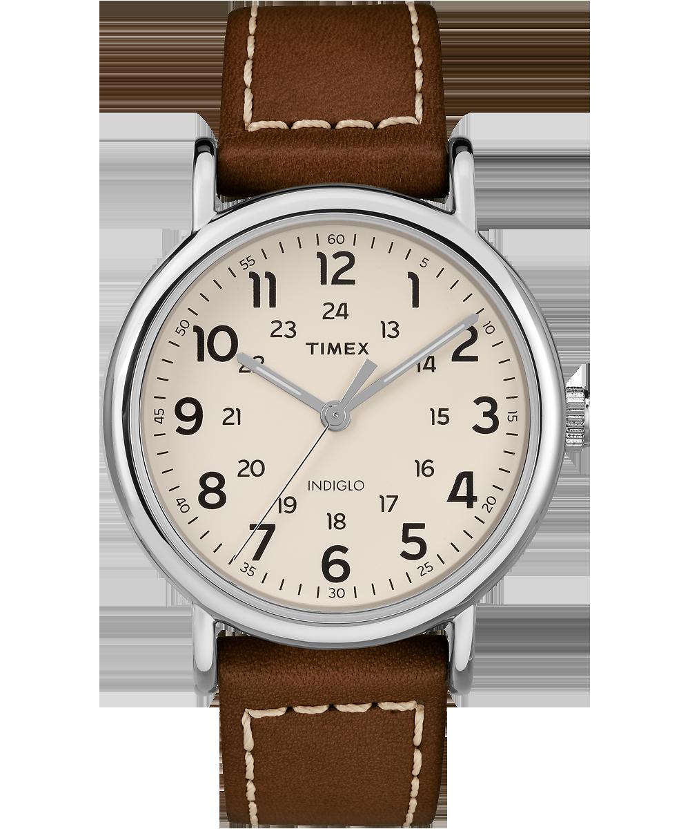 Timex Watch Men's Weekender 2-Piece 40MM Leather Strap Silver-Tone/brown/cream | Item # Tw2R42400Jt