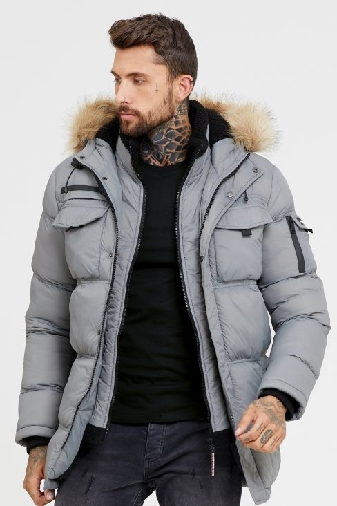Storm Grey Double Layered Parka