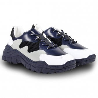 Emporio Armani Trainers White, Grey & Navy