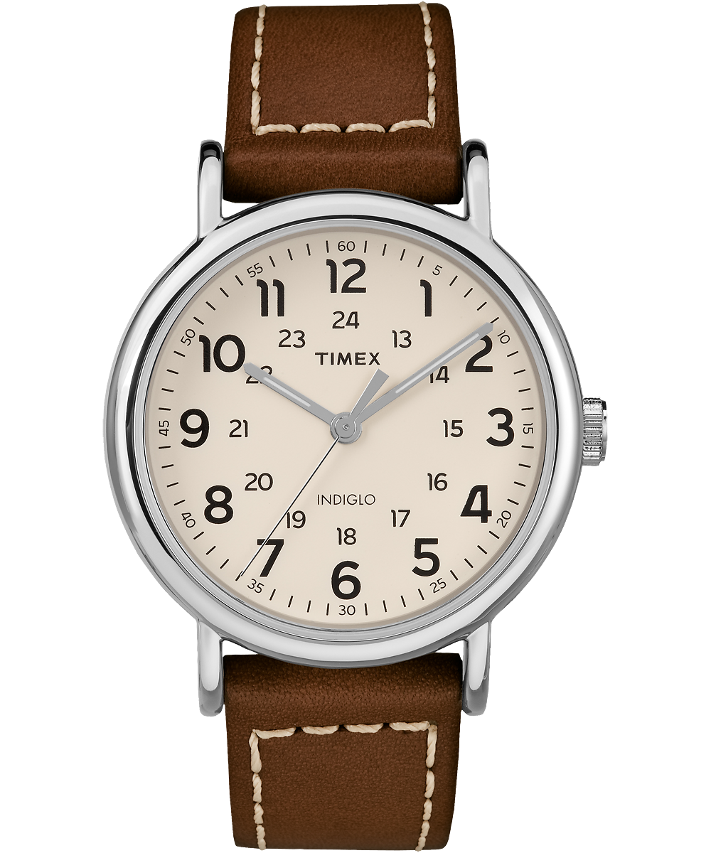 Timex Watch Men's Weekender 2-Piece 40MM Leather Strap Silver-Tone/brown/cream | Item # Tw2R42400Jt