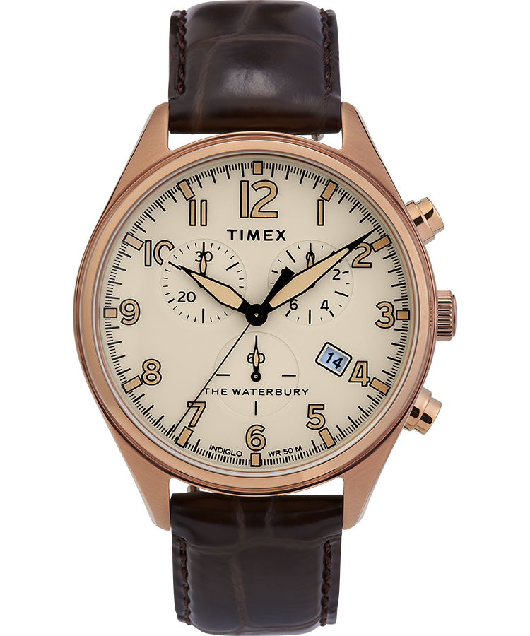 Timex Watch Men's Waterbury Traditional Chronograph 42MM Leather Strap Gold-Tone/brown/tan | Item # Tw2R88300Vq