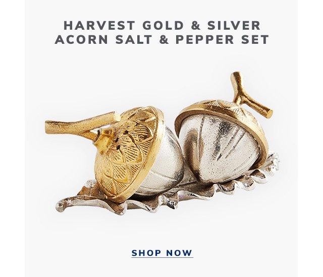 Harvest Gold & Silver Acorn Salt & Pepper Set