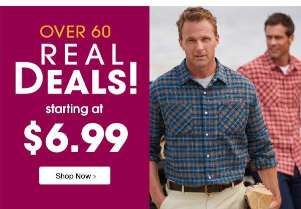 Shop Men's Over 60 Real Deals starting at $6.99!