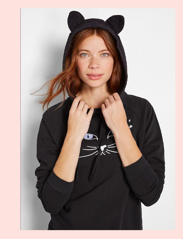 Cat Hoodie in Black