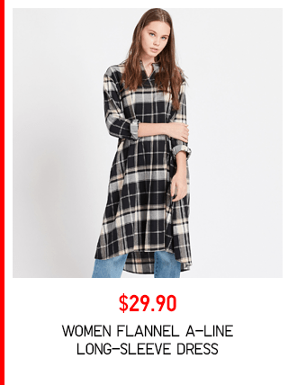 BODY3 PDP5 - WOMEN FLANNEL A-LINE LONG-SLEEVE DRESS