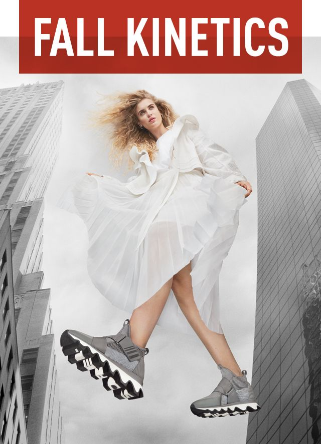 FALL KINETICS, woman wearing Kinetic Sneaks in a city background