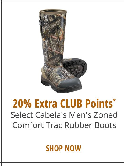 20% Extra CLUB Points* Select Cabela's Men's ZonedComfort Trac Rubber Boots