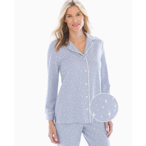 Embraceable Long Sleeve Notch Collar Pajama Top Night Sky Eventide